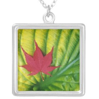 Japanese Maple Leaf on a Hosta Leaf Custom Jewelry