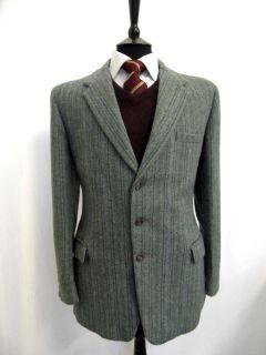 Mens John Edward Crowsher Tweed Wool Sport Jacket Blazer 38R Pin LS26