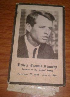 1968 Rober Francis Kennedy Funeral Card wih John Kennedy Samps Suck o Back |