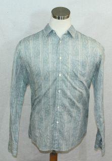 John Varvatos Star USA 100 Cotton Paisley Raw Edge Fitted Shirt XL