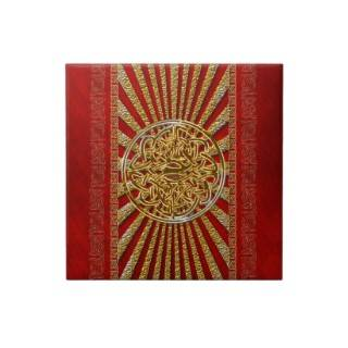 Red gold celtic knot elegant tiles from Zazzle