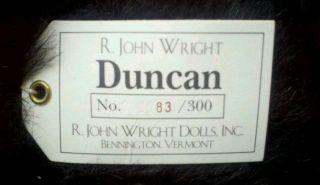 "R John Wright Doll Bear ""Duncan"" No 83 300"