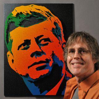 John Kennedy JFK John F Kennedy Portrait Original Rainbow Pop Art Wall Hanging
