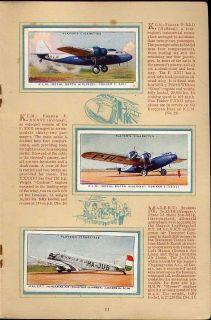 Tobacco Card Album Cards John Player International Air Liners Plane 1936