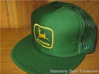 JOHN DEERE Green Mesh Farmer Trucker Snapback Hat VTG 80s Farming Deadstock Cap