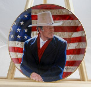 John Wayne Cowboy Legend Collector Plate Mint Cond Orig Box COA 24K Gold Rim