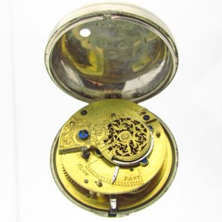 John Harrison Pair Case Verge Fusee Solid Silver Pocket Watch Hallmarks 56mm