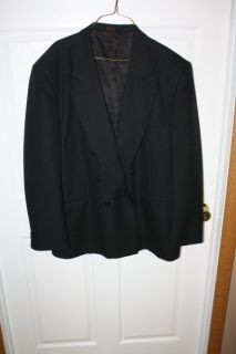 John Henry Athletic Fit Double Breasted Black Sport Coat Jacket Blazer 46 Long