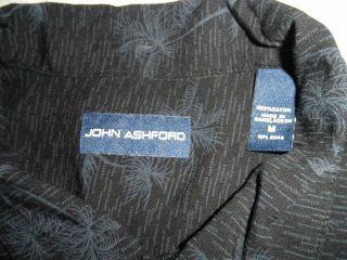 John Ashford Men's Hawaiian Shirt Medium Palm Tree Design Black Blue Button Down