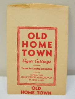 OLD HOME TOWN CIGAR CUTTINGS BAG JOHN WEISERT TOBACCO FACTORY NO 93 ST LOUIS
