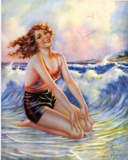 1930s bathing beauty pin up art vintage ad style