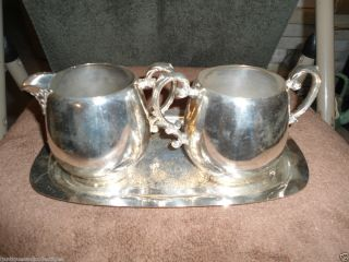 Vintage Wm Rogers Silver Plate Sugar Creamer Set w Tray 103 104 L K