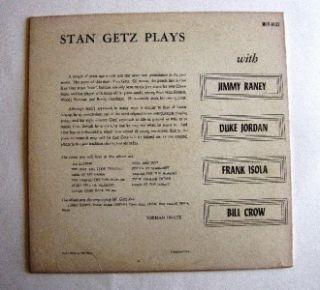 Vinyl Jazz Album Stan Getz Stan Getz Plays on Verve MG V8133 HI FI LP Record