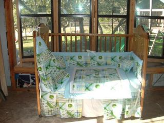New Custom 7pc Blue Madras John Deere Nursery Set