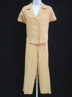 John Patrick Tangerine Linen Pants Top Outfit Size M