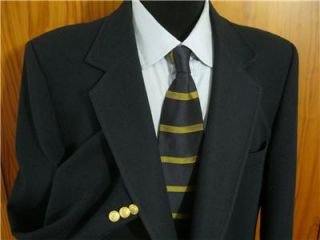 John Peel Classic Navy Blue Gold Button Heavy Wool Blazer Sport Coat Jacket 44L