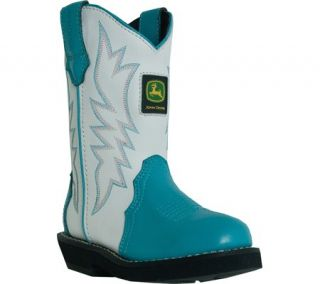 """John Deere Johnny Popper"" Boots Girls Cowboy Shoe Toddler Turquoise"