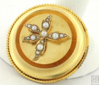 ENGLISH VICTORIAN 15K GOLD LOVELY ELEGANT PEARL FLOWER PIN BROOCH PENDANT