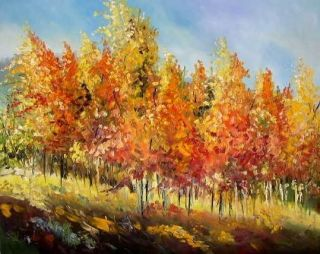 FALL ASPEN Landscape OIL Original Painting JMW art John Williams Impressionism