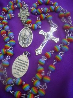 POPE JOHN PAUL ROSARY POPE with QUOTE on HOLY MEDAL RAINBOW BEADS CATHOLIC