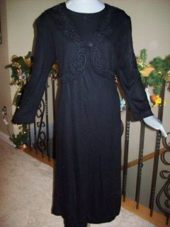 John Roberts Black Long Sleeve Embroidered Career Dress Size 12 Buy4Ship Free