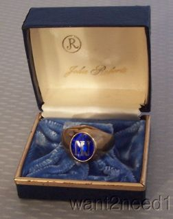 old vtg JOHN ROBERTS 10K SOLID GOLD RING sz 11 5 IN NI initials IN BOX 10 grams |