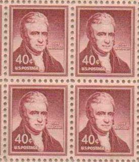 John Marshall Set of 4 x 40 Cent US Postage Stamps New