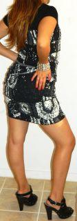 John Paul Richard Black White Career Secretary Ruffle Bandage Mini Dress M