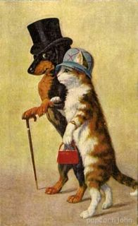 Dachshund Dog and Cat Stepping Out PC Magnet