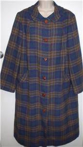 Vintage Pendleton virgin wool teal blue brown purple plaid 1960s long coat XL 16