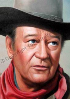 John Wayne Western Original Canvas Oil Art Painting