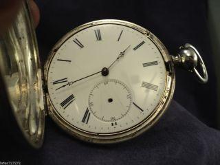 John Harrisson Swiss Fake Cylinder Escapement Key Wind Set Hunter Pocket Watch