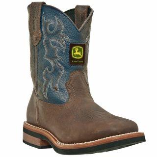 Youth John Deere Johnny Popper Brown Denim Growing Boots JD2326 JD3326