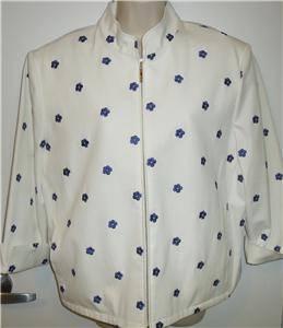 St John Sport Marie Gray white blue flowers zip jacket 3 4 sleeve womens XL