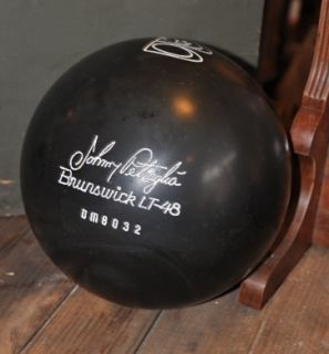 Vintage Johnny Petraglia Brunswick Lt 48 16 lb Black Bowling Ball Undrilled Box