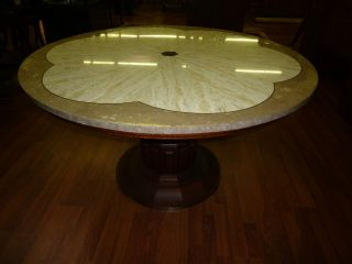 JOHN WIDDICOMB VTG Wood Travertine Brass Inlay Round Dining Game TABLE Mint