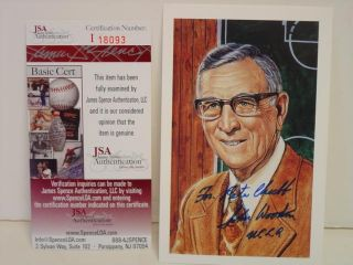 John Wooden Signed Post Card UCLA JSA COA SKU 31268