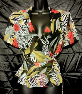 John Roberts Sheer Black Red Zebra Floral Print Wrap Shirt Top Blouse Womans 10