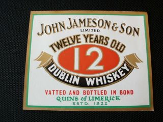 Irish Pub Idea Original John Jameson 12 Y O Whiskey Label Quin's of Limerick