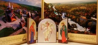 Russian Ortodox Icon Triptych Holy Guardian Angel Mother of God John The Baptist