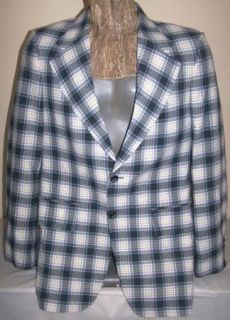 Vintage Plaid Blazer 70s Bold Mod DK Green Poly Johnny Miller by  40 Long