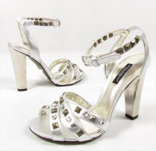 "Dolce Gabbana ""High Light"" High Heels Strappy Sandals Strap Shoes Silber"