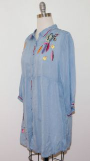 Johnny Was Ocean Blue Rayon Tribal Embroidered Tunic M