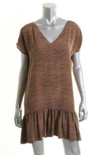 Joie Alyssa Brown Silk Printed V Neck Short Sleeve Casual Dress S BHFO