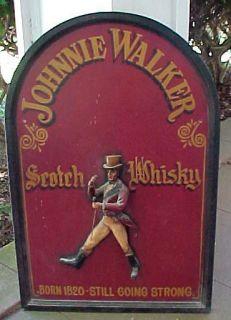 Vintage JOHNNIE WALKER Figural Wood Hand Painted Large PUB SIGN 36 x24