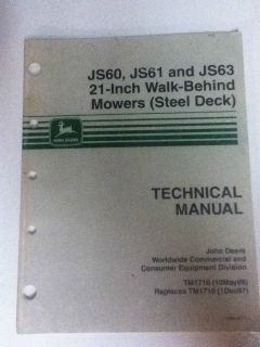 John Deere Walk Behind Mower Technical Manual JS60 JS61 JS63 21""
