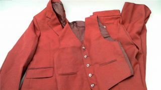 Pierre Jonathan Retro Boys Dressy Sz 14R Pants Vest Jacket Dark Red Solid Auth