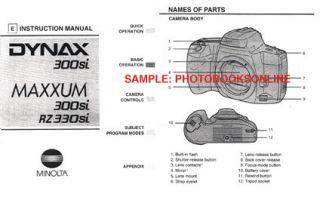 Minolta Maxxum 300si RZ330si Dynax 300si Instruction Manual