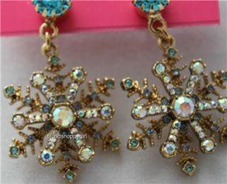 Betsey Johnson Blue Crystal Snowflakes Ice Angel Drop Earrings Princess Gold