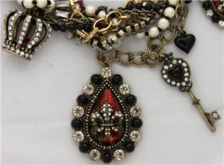Betsey Johnson ROYAL ENGAGEMENT RED PENDANT Multi Chain CHARM NECKLACE Crown Key